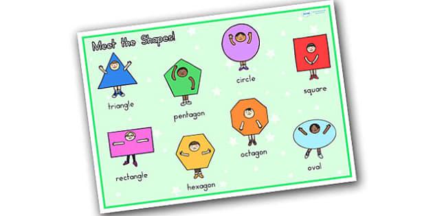 Meet the Shapes Word Mat Stick and Ball - shapes, maths, word mat
