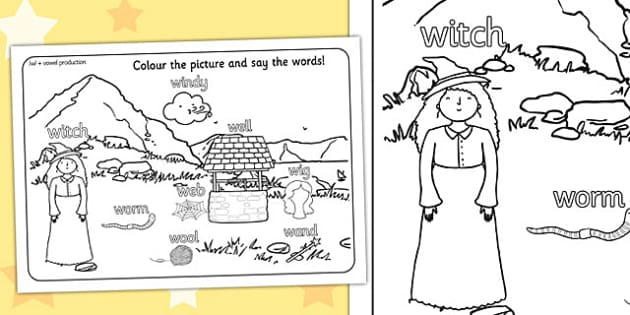 Word Initial w Production Colouring Scene - initial w, sounds