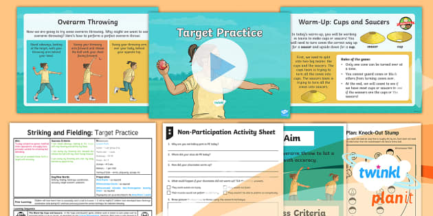 PlanIt Year 3 Striking and Fielding Lesson 2: Target Practice Lesson Pack - Striking and Fielding, PE, Physical Education, exercise, sports, Year 3, planning, plans, powerpoint