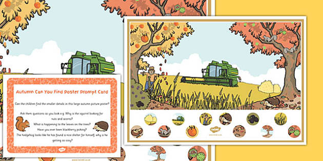 Autumn Can You Find Poster And Prompt Card Pack - autumn, can you find, poster, prompt, card, pack