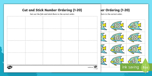 Under the Sea Themed Cut and Stick Number Ordering Activity 1-20 - under the sea, cut and stick, number, ordering, order, activity, 1-20