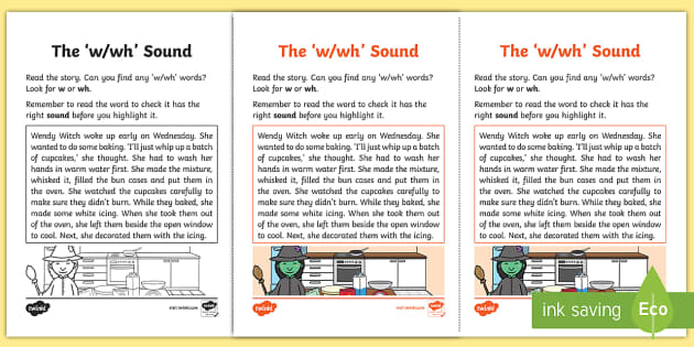 Northern Ireland Linguistic Phonics Stage 5 and 6 Phase 3a, 'w, wh' Sound Activity Sheet - Linguistic Phonics, Phase 3a, Northern Ireland, 'w', 'wh', sound, sound search, text, workshee