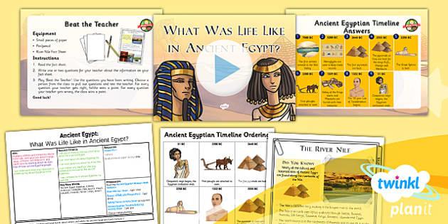 PlanIt - History LKS2 - Ancient Egypt Lesson 2: What Was Life Like in Ancient Egypt? Lesson Pack