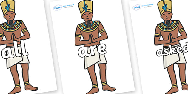 Tricky Words on Egyptian Priests - Tricky words, DfES Letters and Sounds, Letters and sounds, display, words