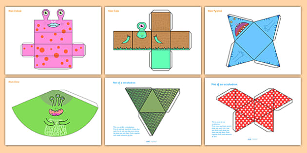Patterned 3D Shape Nets - 3D, shapes, 3D shapes, cutting skills, 2D, 3D, shape, net, rectangular prism, cube, square based pyramid, cone, triangle based pyramid, tetrahedron