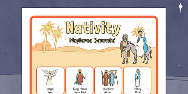 Nativity Vocabulary Poster Romanian Translation - romanian, nativity, vocabulary, poster, display
