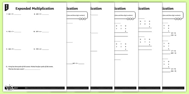Expanded Multiplication Activity Sheets - Y4 Multiplication and Division Planit Maths, multiply, groups of, lots of, product, times, sets of,