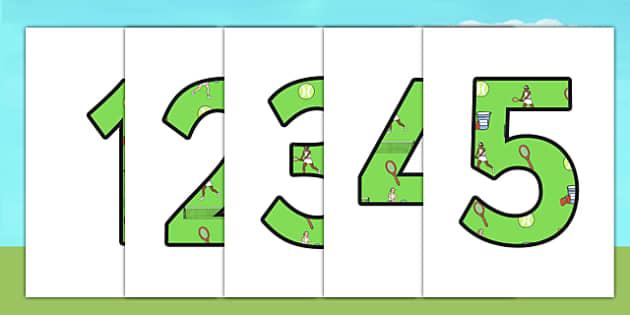 Wimbledon Display Numbers - sports, pe, tennis, number, sport