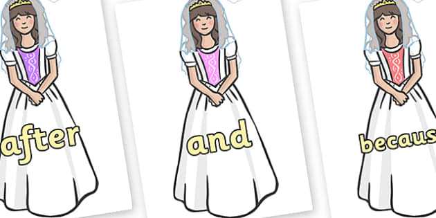 Connectives on Princesses - Connectives, VCOP, connective resources, connectives display words, connective displays