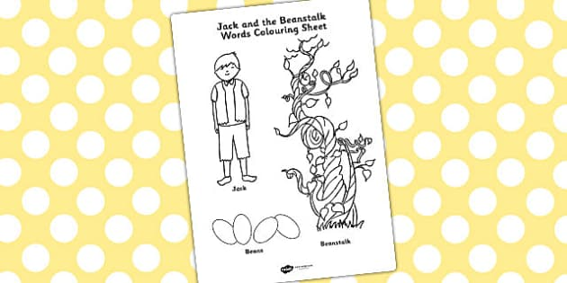 Jack and the Beanstalk Words Colouring Sheet - colouring, sheet
