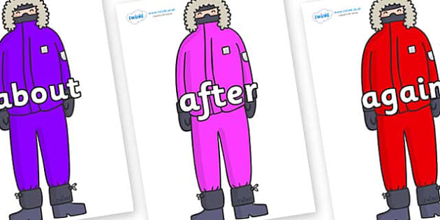 KS1 Keywords on Arctic Explorers - KS1, CLL, Communication language and literacy, Display, Key words, high frequency words, foundation stage literacy, DfES Letters and Sounds, Letters and Sounds, spelling