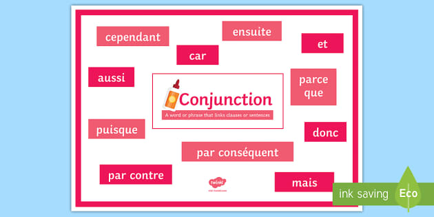 Conjunctions with Definition and Examples Display Poster French - French, Grammar, poster, display, conjunctions,French