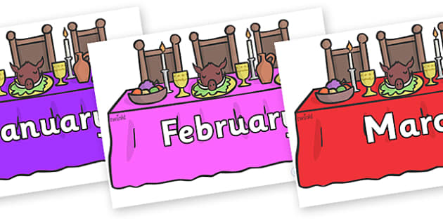 Months of the Year on Dining Tables - Months of the Year, Months poster, Months display, display, poster, frieze, Months, month, January, February, March, April, May, June, July, August, September