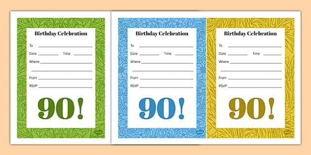 90th Birthday Party Invitations - 90th birthday party, 90th birthday, birthday party, invitations