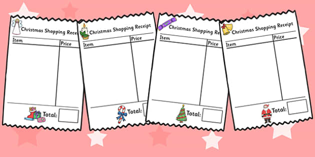Role Play Receipts (Christmas Shopping) - Role Play, receipt, role play area, christmas, shop, shops, shop receipt, play receipt