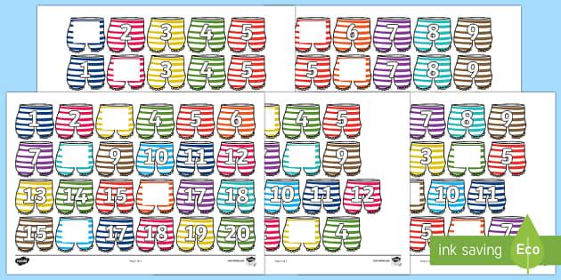 Alien Pants Missing Number Line - numberline, numbers, counting, underpants, aliens, missing numbers, 0-20, Year 2, Year 1, EYFS, Y1,