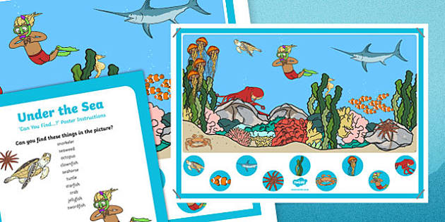 Under the Sea Can you Find...? Poster and Prompt Card Pack