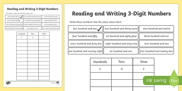 Place Value Reading and Writing 3-Digit Numbers Activity