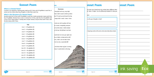 Sonnet Poem Writing Template-Australia - Literacy, Interpreting, analysing, evaluating, english, poetry, writing, poems, poetry, sonnets, son