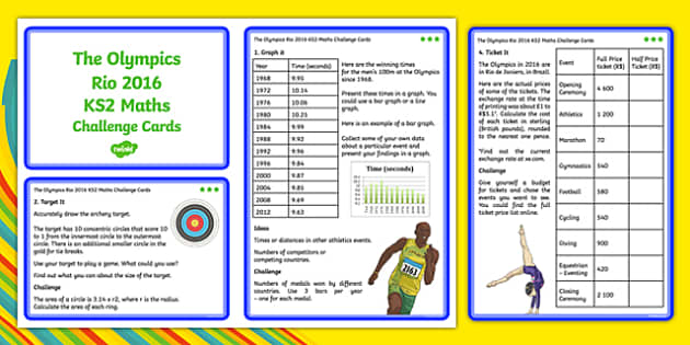 The Olympics Rio 2016 UKS2 Maths Challenge Cards