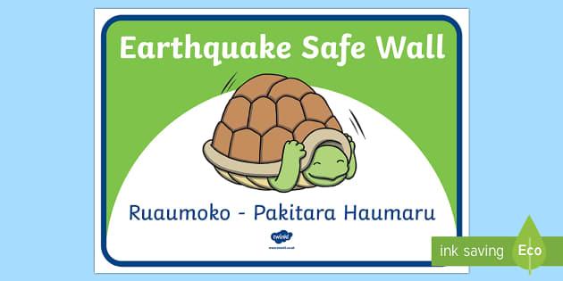 Ruaumoko. Ngā honu pakitara haumaru. Information Cards Te Reo Maori - earthquake, safe walls, ruaumoko, turtles