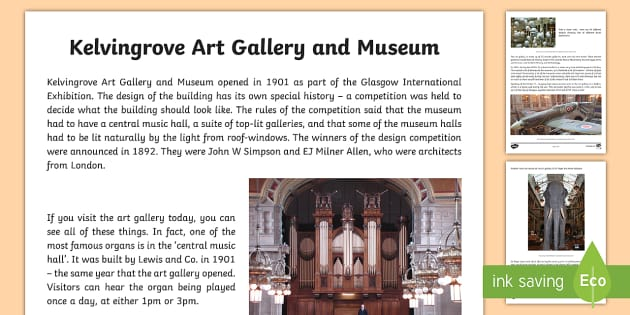 Glasgow Kelvingrove Art Gallery Information and Photo Sheet-Scottish - Scottish Cities, Glasgow, museums, tourism, tourist attraction,Scottish