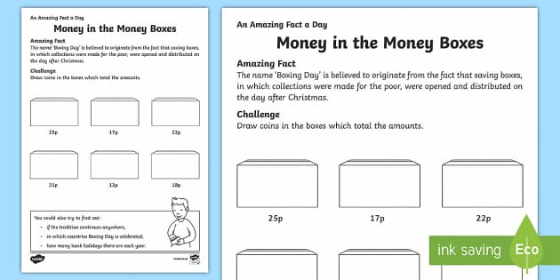Money in the Money Boxes Activity Sheet - Amazing Fact Of The Day, activity sheets, powerpoint, starter, morning activity, December, coins, to