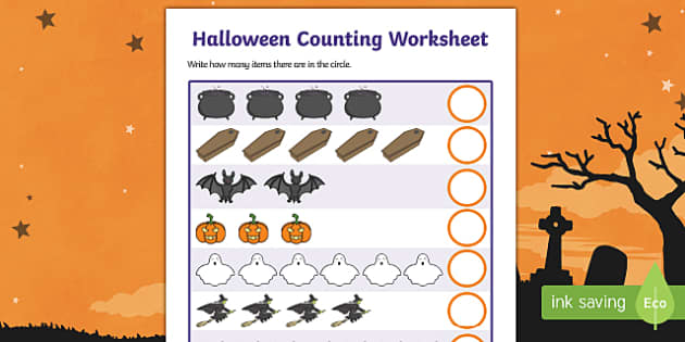 Halloween Counting Worksheet - halloween, counting, counting worksheet, halloween worksheet, themed counting, halloween counting, numeracy, maths, adding