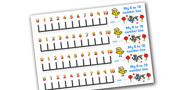 Chinese New Year Number Line (0-10) - Chinese New Year, Maths, Math, numberline, numberline display, China, lantern, dragon, chopsticks, noodles, year of the rabbit, ox, snake, fortune cookie, pig
