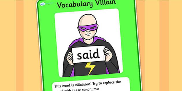 Vocabulary Villain Said Display Poster - said, vocabulary, vocabulary villian, display poster, poster for display, display, classroom display, keywords