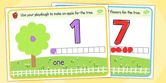 Counting Activity Playdough Mats - count, activity, playdough