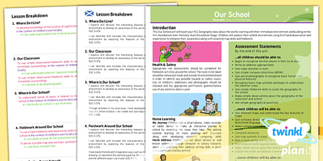 PlanIt - Geography KS1 - Our School Planning Overview CfE - planit, planning, overview