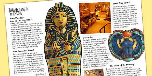 The Ancient Egyptians Tutankhamuns Tomb Information Print Out