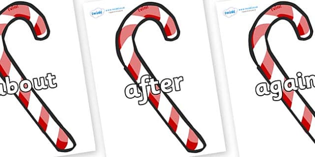 KS1 Keywords on Candy Canes (Plain) - KS1, CLL, Communication language and literacy, Display, Key words, high frequency words, foundation stage literacy, DfES Letters and Sounds, Letters and Sounds, spelling