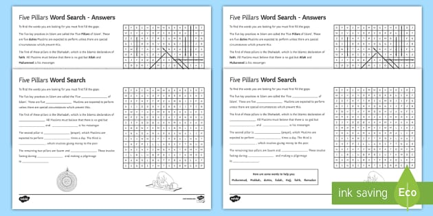 Five Pillars Differentiated Word Search - Islamic Practices; Five Pillars; Shahadah; Salah; Zakah; Sawm; Hajj