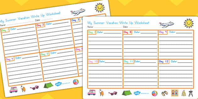 My Summer Vacation Write Up Worksheet - summer, vacation, write