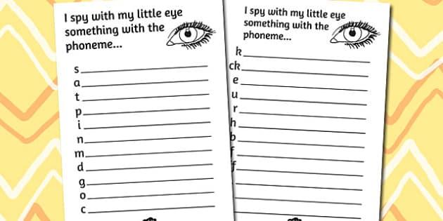 Phase 2 Phoneme Hunt Activity Sheet Pack - activity, sheets, phoneme, worksheet