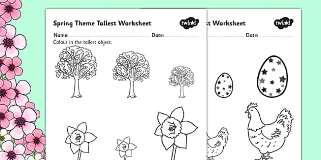 Spring Themed Themed Tallest Object Worksheet - spring, measure