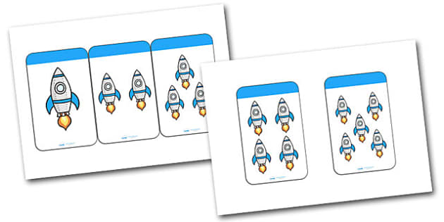 Count the Rockets Activity Cards (1-5) - Maths, Math, rockets, rocket, counting, Counting on, Counting back, counting card, counting activity, one to one counting, flashcard, matching cards