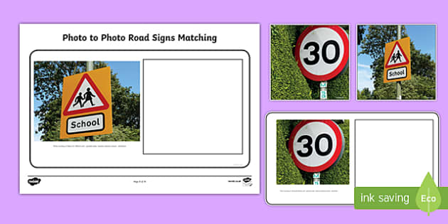 Workstation Pack: Photo to Photo Road Signs Matching Activity