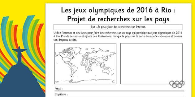 Les jeux olympiques de 2016 á Rio : Projet de recherches sur les pays - french, rio olympics, 2016 olympics, country, factfile, fact file