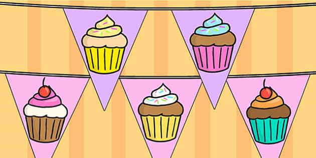 Cupcake Themed Display Bunting - food, baking, cooking, display