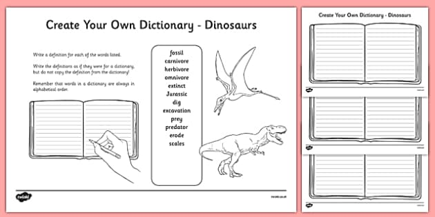 Dinosaurs Key Vocabulary Create Your Own Dictionary