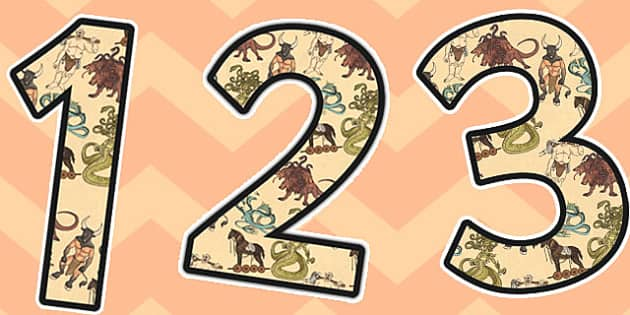 Greek Mythical Creatures Themed A4 Display Numbers - numbers