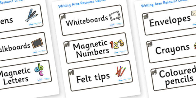 Gorilla Themed Editable Writing Area Resource Labels - Themed writing resource labels, literacy area labels, writing area resources, Label template, Resource Label, Name Labels, Editable Labels, Drawer Labels, KS1 Labels, Foundation Labels, Foundatio