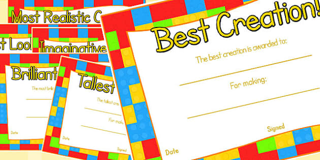 Toy Figure Creation Award Certificates - awards, rewards, certificate