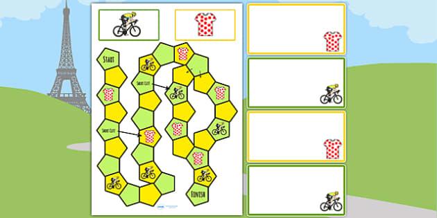 Tour de France Themed Editable Board Game - le tour, games, sport