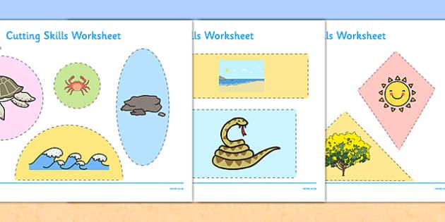 Beach Habitat Cutting Skills Worksheet - australia, Science, Year 1, Habitats, Australian Curriculum, Beach, Living, Living Adventure, Environment, Living Things, Animals, Plants, Cutting Skills, Fine Motor