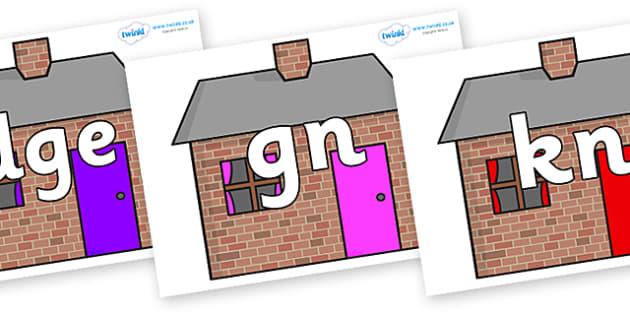 Silent Letters on Brick houses - Silent Letters, silent letter, letter blend, consonant, consonants, digraph, trigraph, A-Z letters, literacy, alphabet, letters, alternative sounds