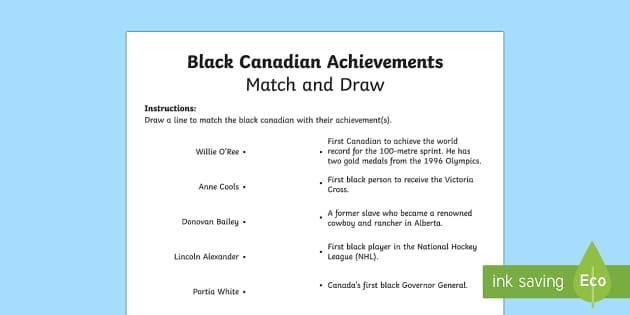 Black Canadian Achievements Match and Draw - Black History Month in Canada, civil rights, Canadian history, Black Canadians, social studies, achi